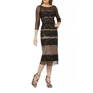 JS Collections Dress 4 Black Midi Floral Sheer